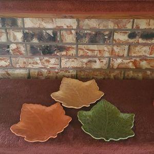 Fall Leaf Serving Plates NWT